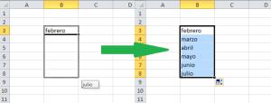 Lista automática de meses en Excel