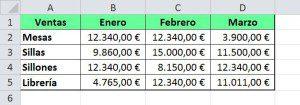 Tabla formateada en Excel