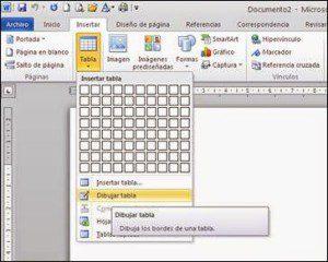 Iniciar una tabla en Word con formato libre