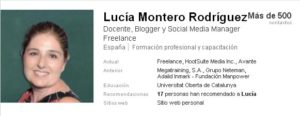 Extracto de LlinkedIn de Lucia Montero Rodriguez