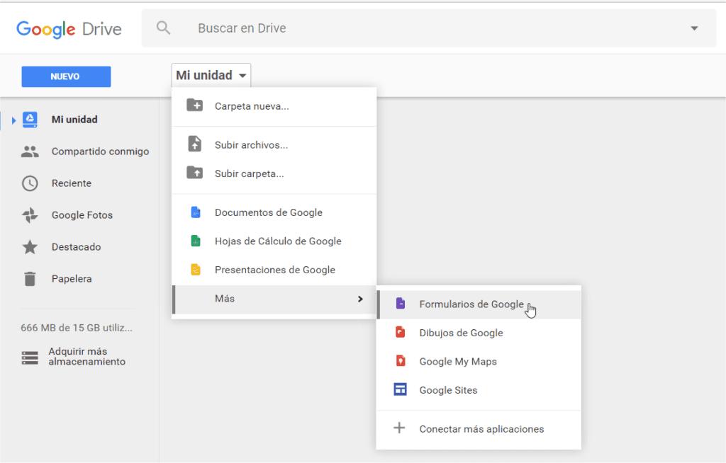 Acceso a Google Forms desde Drive