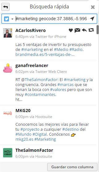 Resultados geolocalizados al buscar marketing sólo dentro de Sevilla