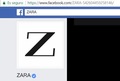 La URL de Zara en Facebook no es limpia