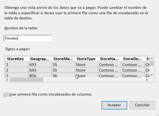 Agrega datos a PowerPivot utilizando el portapapeles