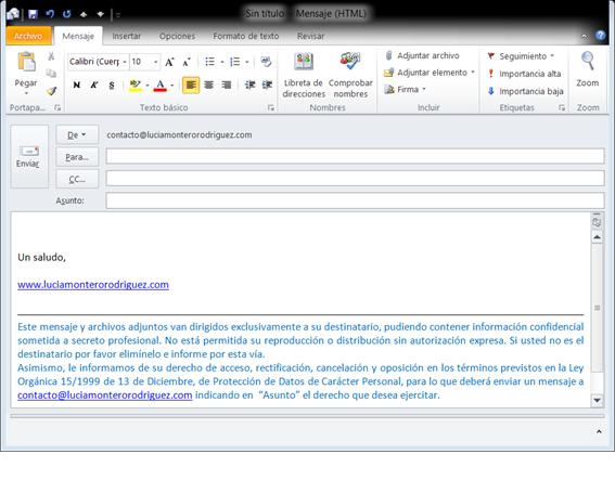 Nuevo mensaje en Outlook con firma personalizada