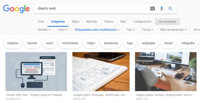 Elección de imágenes gratuitas con Google