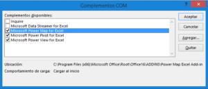 Activación de complementos BI en Excel