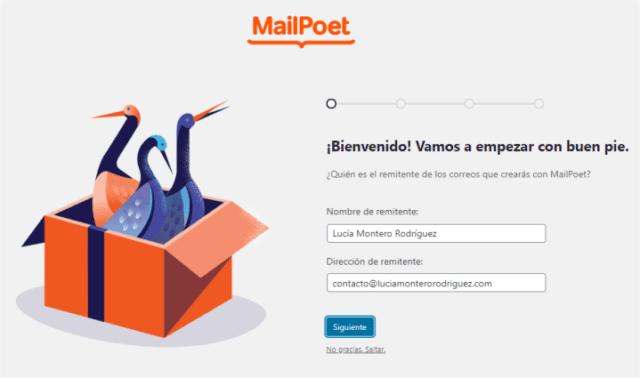 Asistente de configuración de MailPoet en WordPress