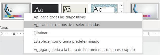 Opciones para aplicar temas en una presentación de PowerPoint