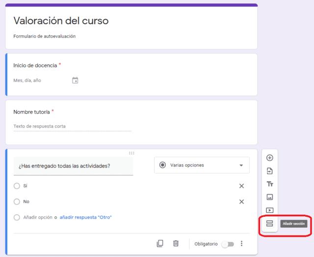 Cómo añadir una sección en formularios de Google Forms