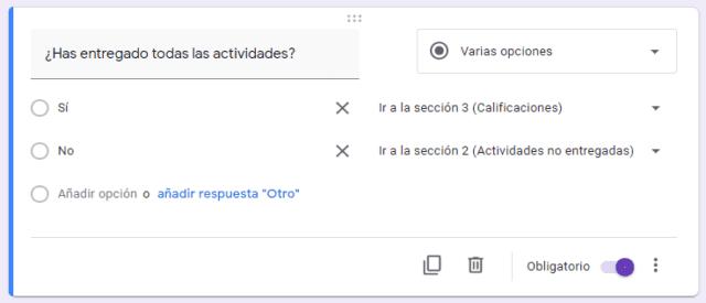Cambio de flujo en formularios de Google Forms según la respuesta dada