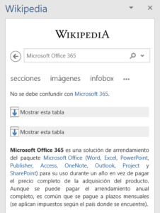 Búsqueda en Wikipedia desde Word