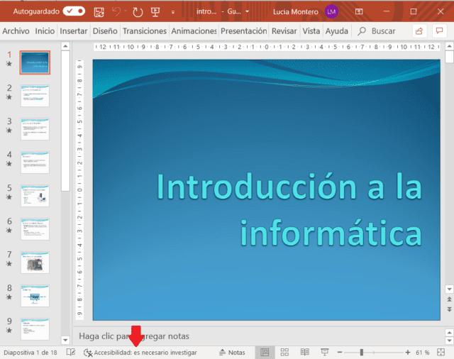 Control de accesibilidad activado en una presentación de PowerPoint