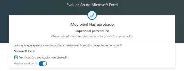Test de aptitud de Excel en LinkedIn superado