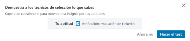 Test para demostrar tus aptitudes en LinkedIn