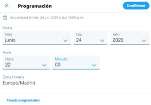 Cuadro de diálogo para programar tuits directamente en Twitter