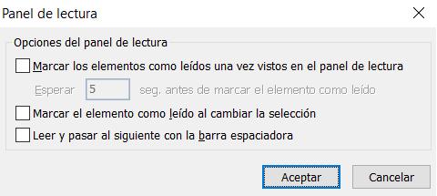 Opciones del panel de lectura de Outlook para no enviar confirmación de lectura