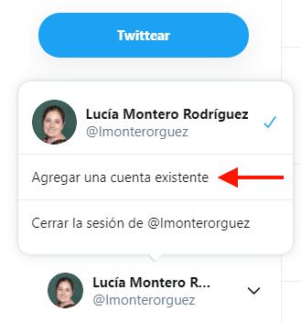 Opción para añadir otra cuenta en Twitter