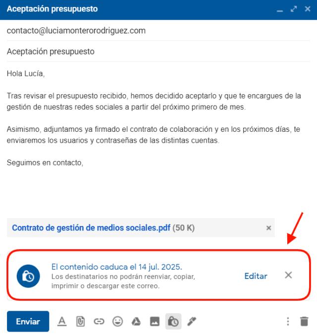 Opciones de confidencialidad configuradas en correo de Gmail
