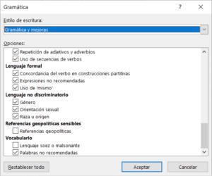Opciones para configurar las sugerencias del Editor de Word