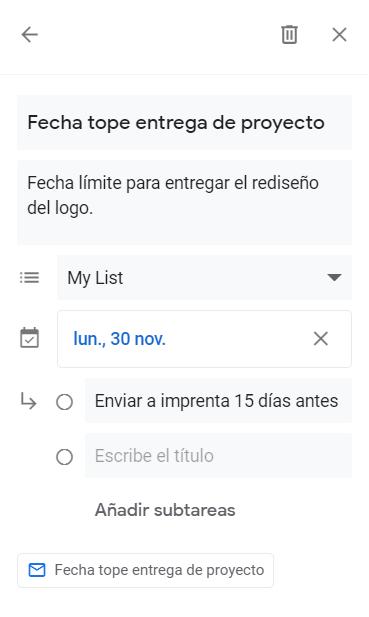Edición de una tarea en Gmail