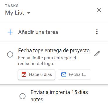 Ejemplo de tarea no finalizada en su fecha de vencimiento en Google Tasks