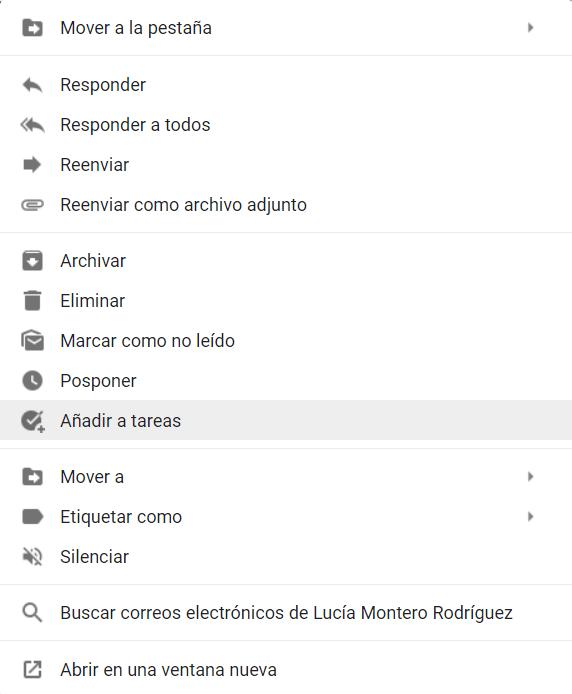 Menú contextual de un correo electrónico en Gmail