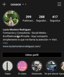 Ejemplo de cuenta personal en Instagram