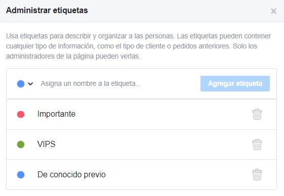 Cuadro para administrar etiquetas de contactos en Facebook