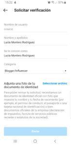 Datos requeridos para verificar una cuenta en Instagram