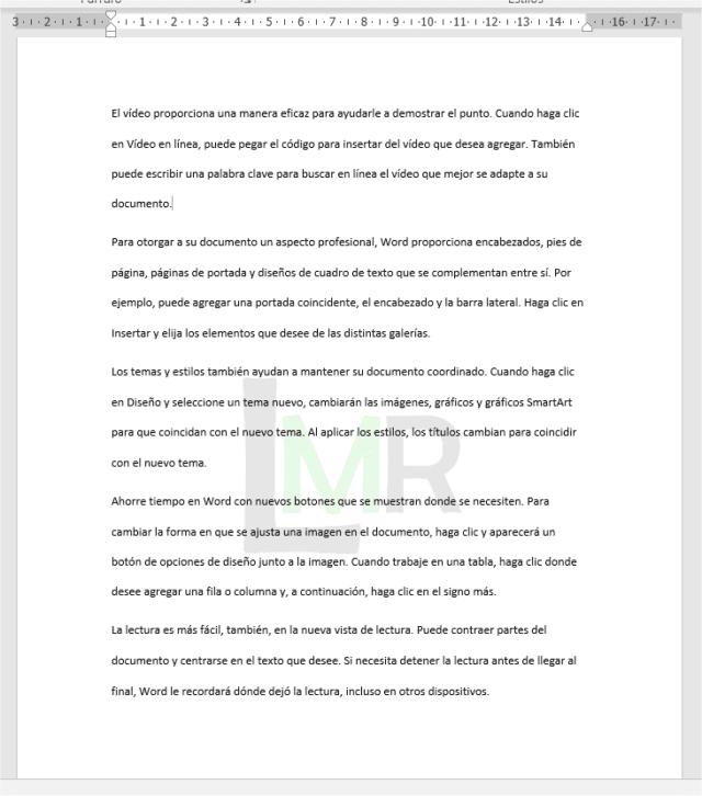 Ejemplo de documento con marca de agua personalizada en Word