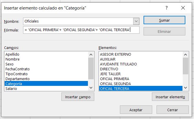 Cuadro de diálogo Insertar elemento calculado en Excel