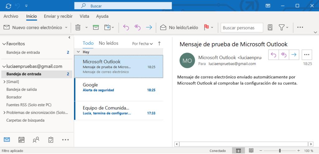 Pantalla principal de Outlook 365