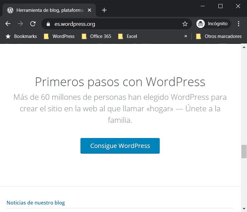 Boton para descargar el paquete de archivos de WordPress