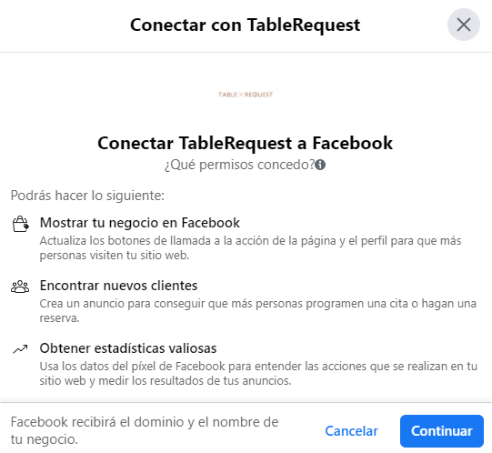 Conectar con una app de negocio en una fanpage