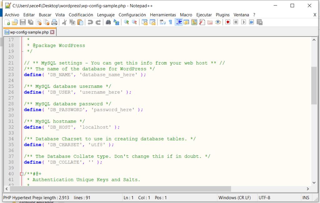 Edición de wp-config con Notepad++