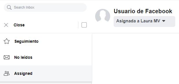 Filtrado por mensajes asignados en la bandeja de entrada de Facebook