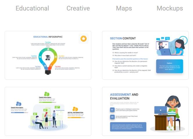 Algunas de las plantillas de diapositivas disponibles en Premast Plus