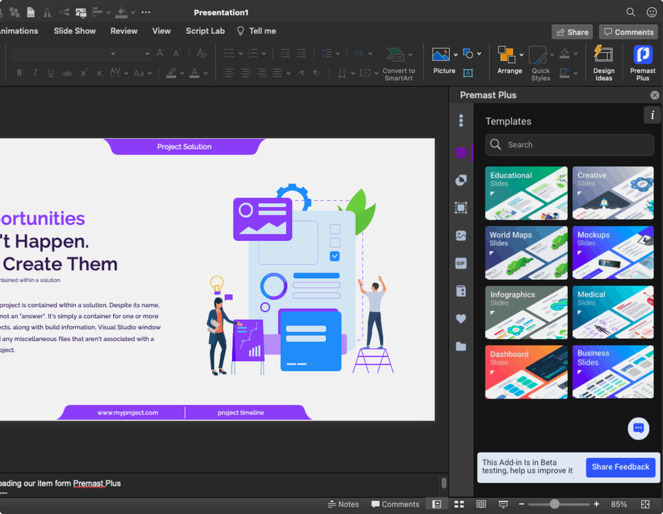 Añade diseños, plantillas y funciones a PowerPoint con Premast Plus