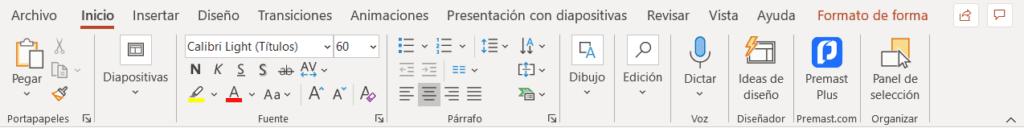 Cinta Inicio de PowerPoint con el icono de Premast Plus a la derecha
