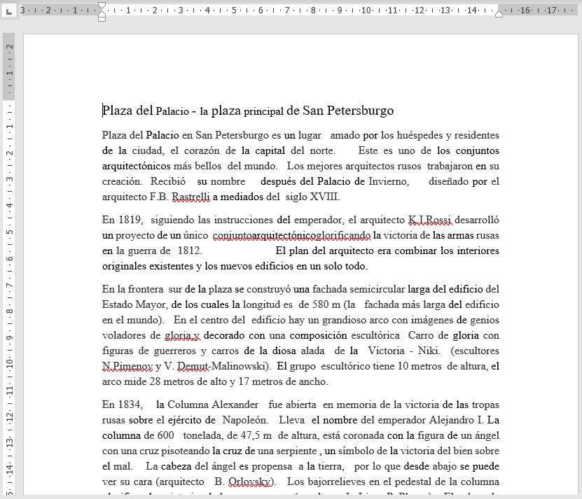 Documento traducido de ruso a español mediante Word