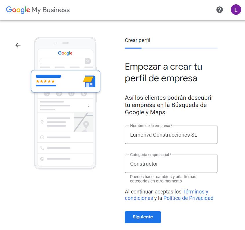 Alta de negocio y categoría en Google My Business