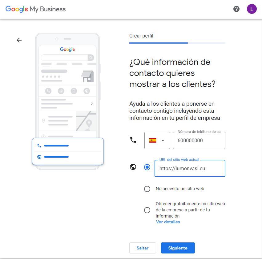 Añadir la información de contacto de un negocio en Google My Business
