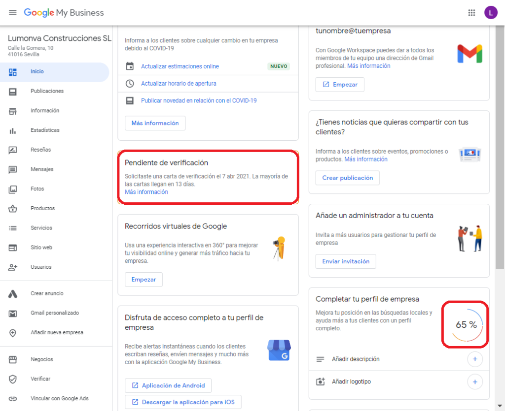 Ficha de negocio en Google My Business