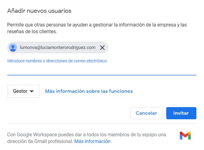 Adicion de nuevos usuarios a ficha de negocio en Google My Business