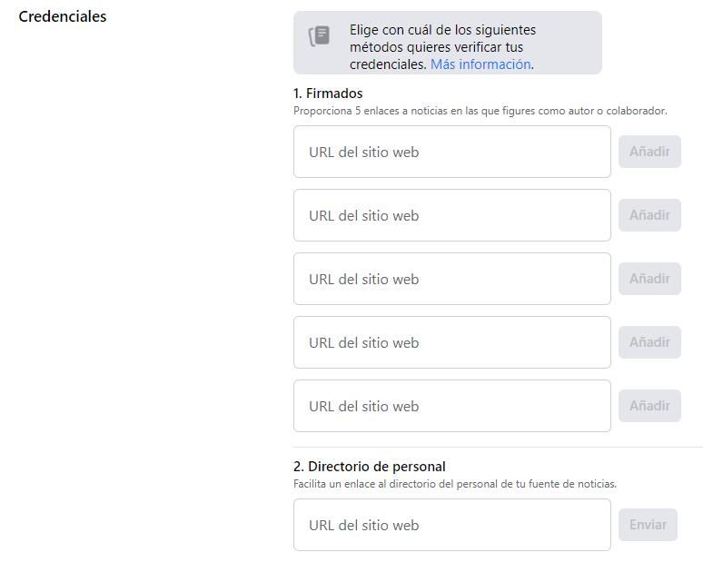 Area para incluir nuestras credenciales en Facebook
