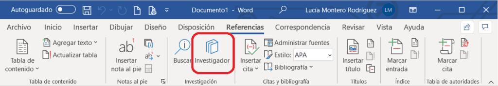 Botón para acceder al Investigador de Word