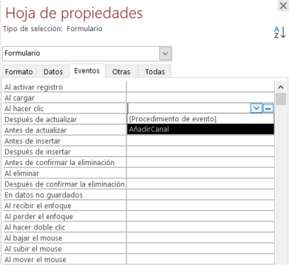 Activar evento en formulario de Access con código ya creado
