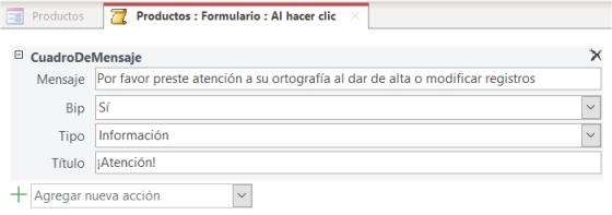 Creación de macro desde las propiedades de Eventos para un formulario de Access