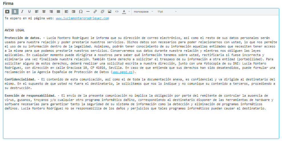Firma personalizada para correo electrónico webmail